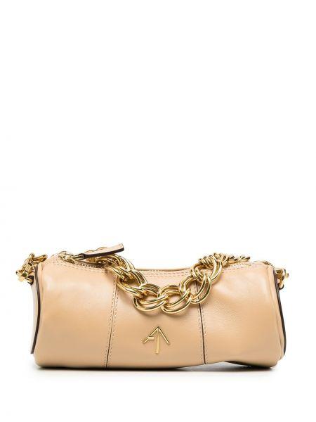 Золотистая желтая маленькая сумка металлическая на молнии Manu Atelier