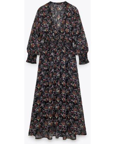 Асимметричное платье макси на пуговицах с V-образным вырезом Zara