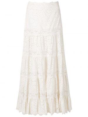 С завышенной талией белая юбка миди на молнии Martha Medeiros