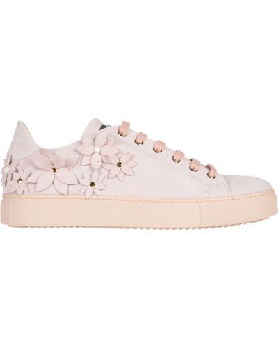 Кожаные кеды - розовые Stokton