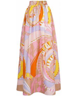 Хлопковая розовая с завышенной талией юбка макси на резинке Emilio Pucci