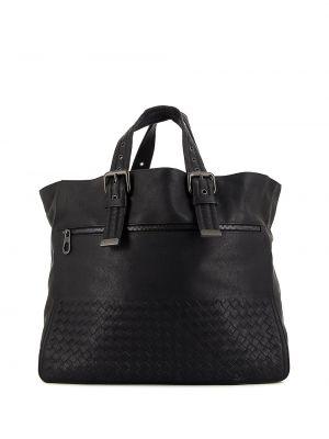 Парусиновая черная сумка-тоут на молнии с карманами Bottega Veneta Pre-owned