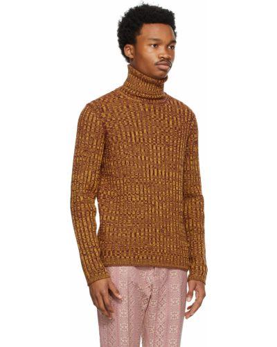 Żółty długi sweter wełniany z długimi rękawami Gucci