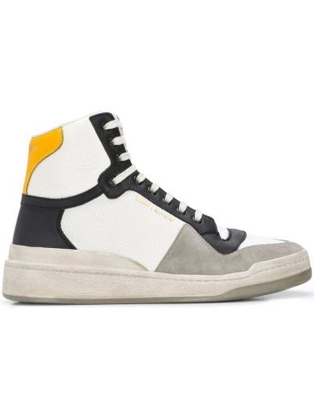 Biały włókienniczy wysoki sneakersy perforowany zasznurować Saint Laurent