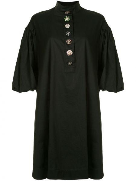 Черное прямое платье на пуговицах с воротником Romance Was Born