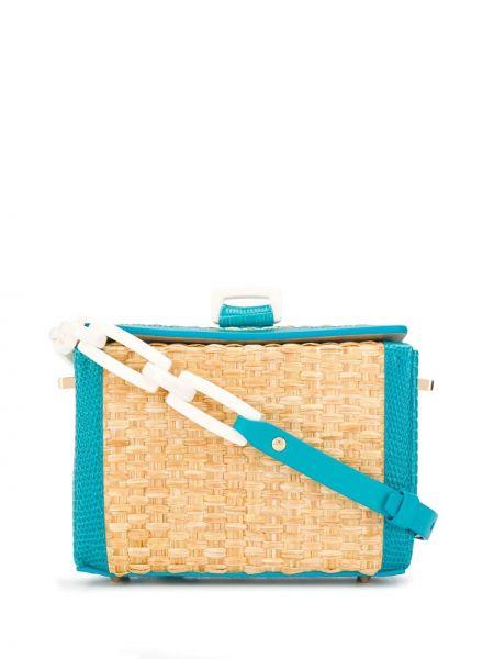Кожаная сумка бирюзовый соломенная Nico Giani