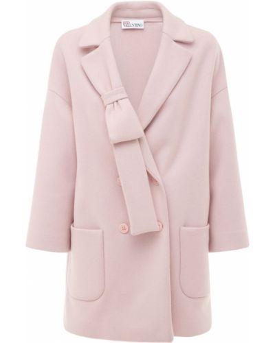 Розовое шерстяное полупальто с заплатками Red Valentino