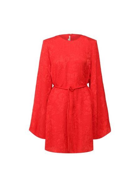 Платье с поясом с цветочным принтом шелковое Stella Mccartney