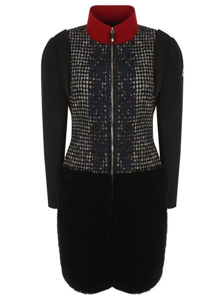 Пальто с воротником на молнии из альпаки со вставками Moncler Gamme Rouge