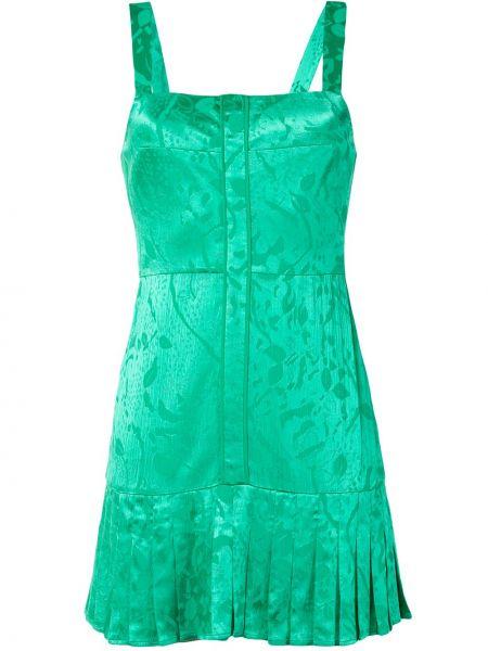 Шелковое плиссированное платье мини на молнии без рукавов Alexis