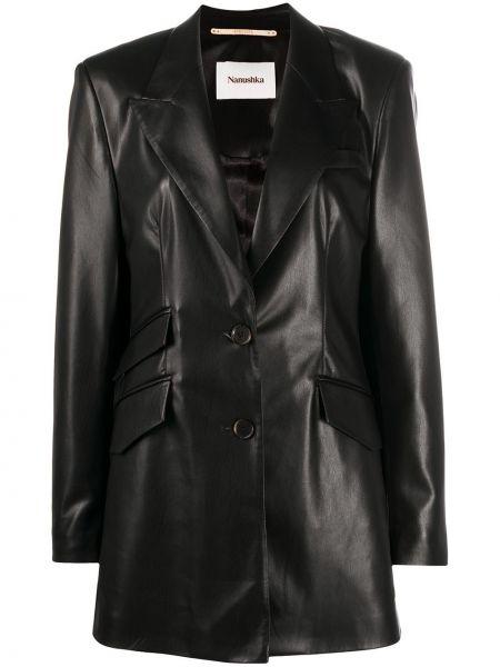 Однобортный черный кожаный пиджак Nanushka