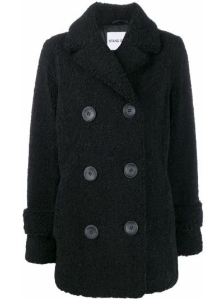 Шерстяное черное длинное пальто с поясом Stand