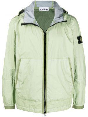 С рукавами зеленая длинная куртка с капюшоном Stone Island