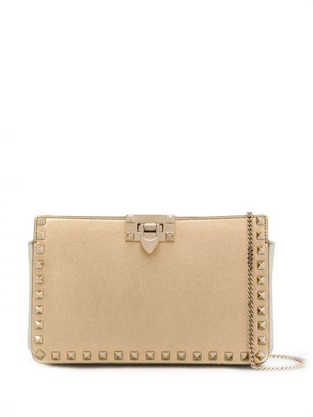 Золотистая желтая кожаная сумка через плечо Valentino