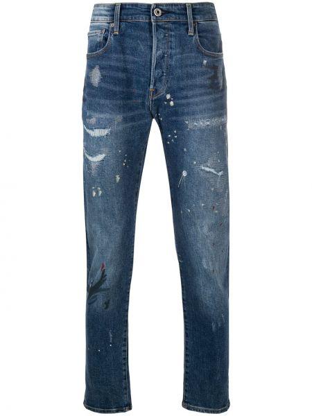 Хлопковые синие джинсы классические с карманами G-star Raw