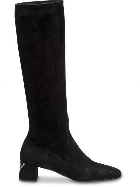 Czarny buty na pięcie z prawdziwej skóry na pięcie w połowie kolana Prada