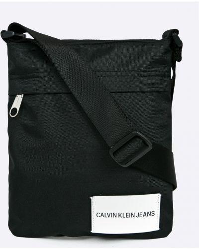 Мерцающая черная текстильная сумка через плечо Calvin Klein