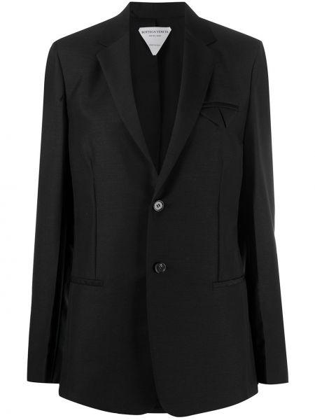 Шерстяной черный удлиненный пиджак на пуговицах Bottega Veneta
