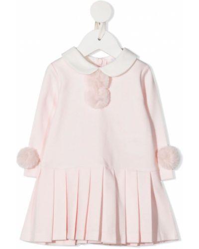 С рукавами хлопковое вязаное розовое платье с рукавами Patachou