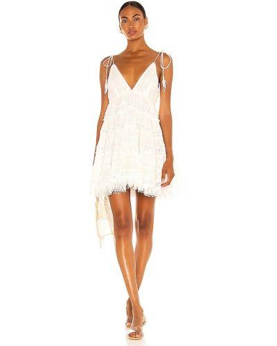 Biała sukienka mini koronkowa z frędzlami Rococo Sand
