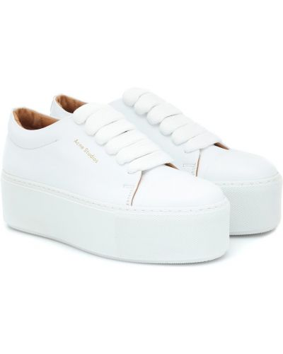 Кожаные кроссовки на платформе белый Acne Studios