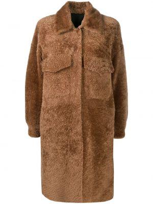 Коричневое кожаное пальто классическое двустороннее Simonetta Ravizza