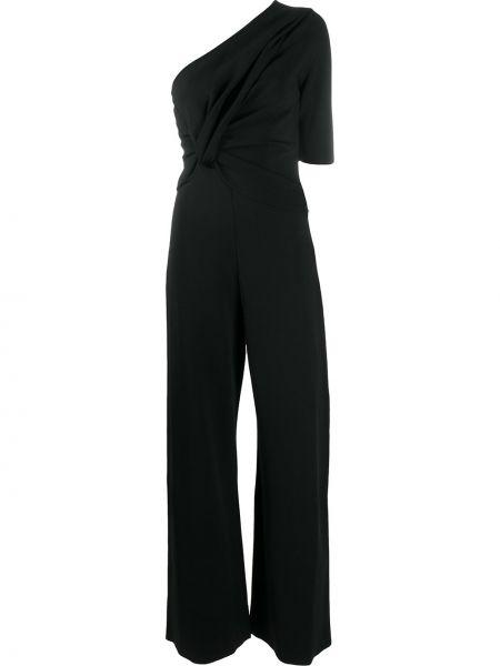 С рукавами черный комбинезон с шортами из вискозы Stella Mccartney