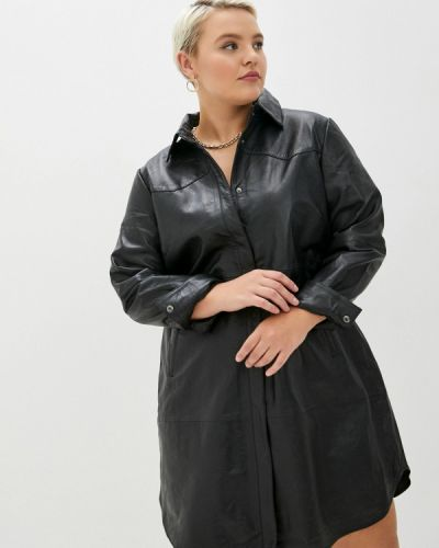 Кожаное черное платье Zizzi