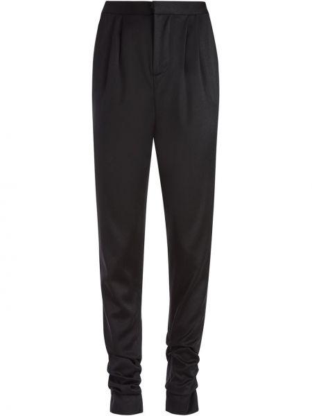 Шерстяные брючные черные брюки дудочки с карманами Alice+olivia