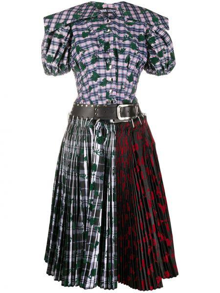Плиссированная юбка с цветочным принтом кожаная Chopova Lowena