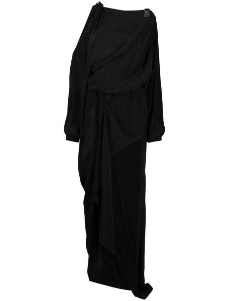 С рукавами черное платье макси с открытыми плечами Diesel