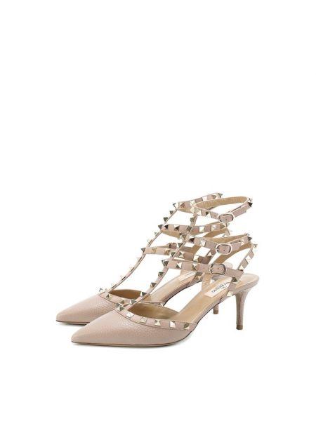 Кожаные бежевые кожаные туфли с открытой пяткой с пряжкой Valentino
