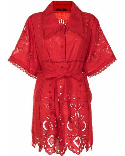 Красное платье мини с вышивкой на пуговицах Vita Kin
