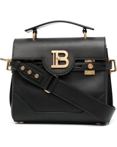 Czarna torba na ramię skórzana Balmain