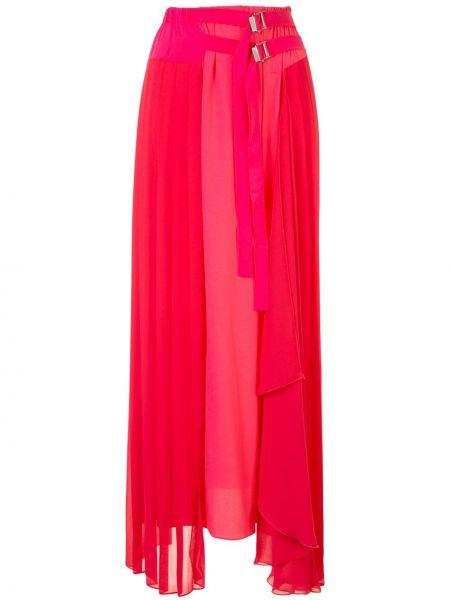 Плиссированная акриловая розовая юбка миди с пряжкой Iceberg