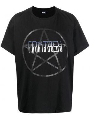 Czarny t-shirt bawełniany z printem Ktz