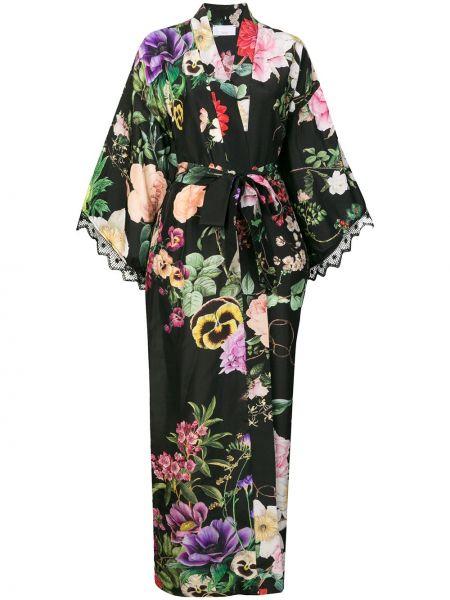 Jedwab koronkowa czarny kimono Parosh