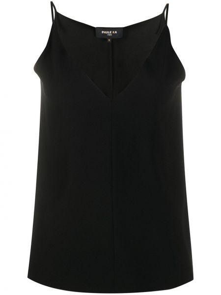 Приталенная черная жилетка с V-образным вырезом без рукавов Paule Ka