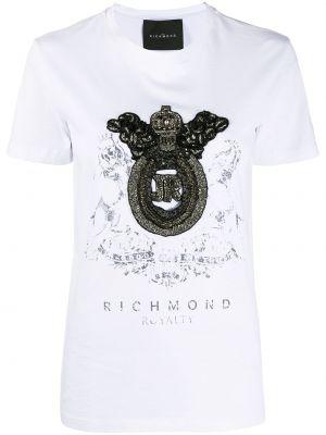 Хлопковая белая футболка круглая John Richmond