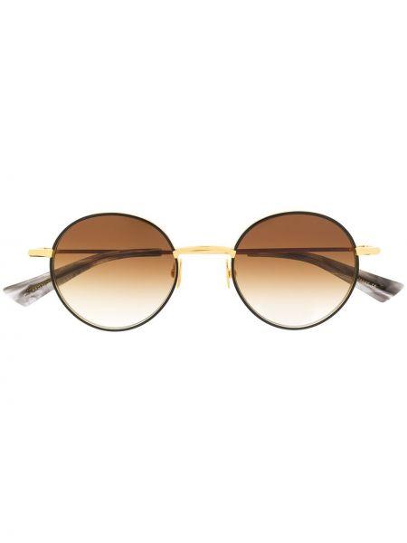 Желтые солнцезащитные очки круглые металлические Christian Roth