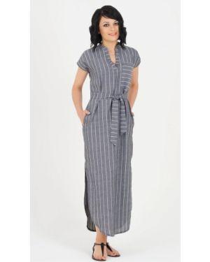 Платье с поясом с V-образным вырезом платье-рубашка Ajour