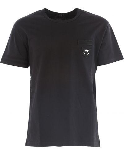 Czarny t-shirt bawełniany krótki rękaw No. 21