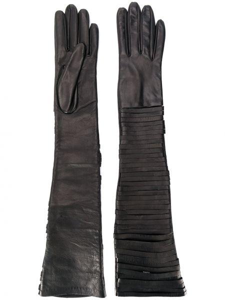 Кожаные черные перчатки длинные с разрезом Manokhi