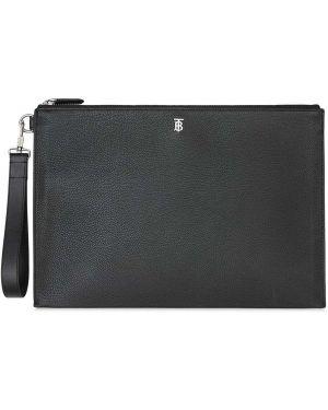 Черный с ремешком кожаный клатч Burberry