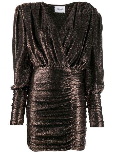 Черное платье мини с V-образным вырезом с оборками из вискозы Redemption