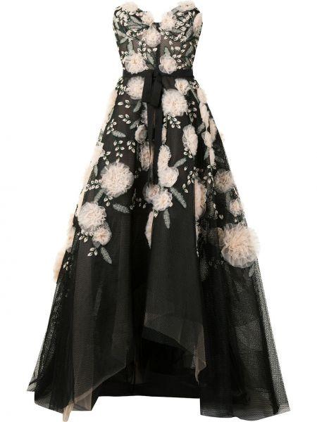 Черное вечернее платье с вышивкой без рукавов Marchesa