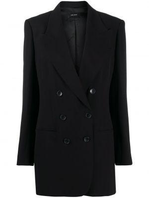 Черный удлиненный пиджак двубортный на пуговицах Isabel Marant