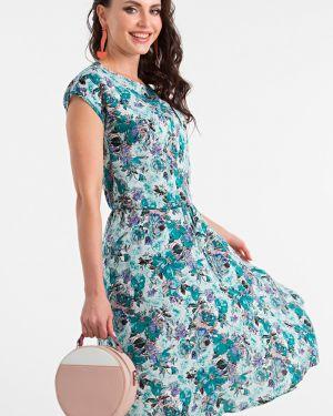 Платье с поясом с цветочным принтом из штапеля Lady Taiga