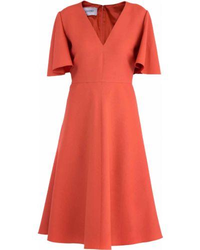 Платье миди с V-образным вырезом с вырезом Valentino