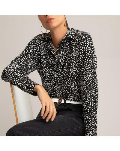 Черная блузка с воротником из вискозы Laredoute